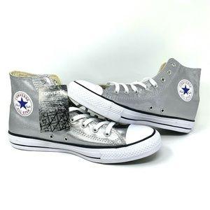 Converse Chuck Taylor Metallic Silver Hi Top Shoe